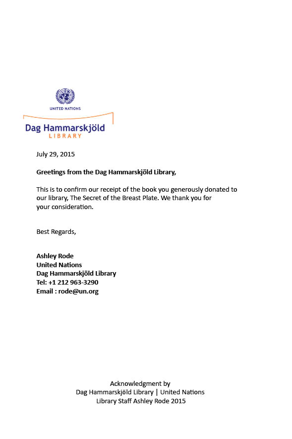 Letter from the United Nations Dag Hammarskjold Library
