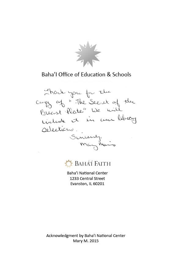 Letter from the Baha'I National Center