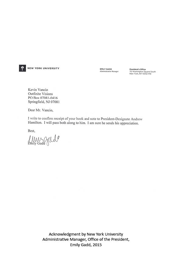Letter from the Office of the President of New York University