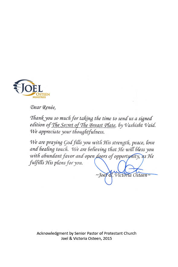 Letter from Joel Osteen