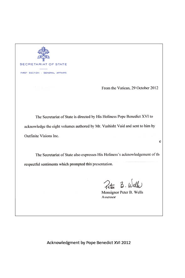 Letter on behalf of the Pope from the Vatican