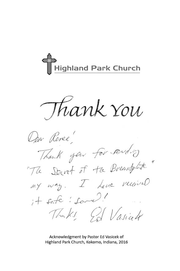 Letter from Pastor Ed Vasicek of the Highland Park Church