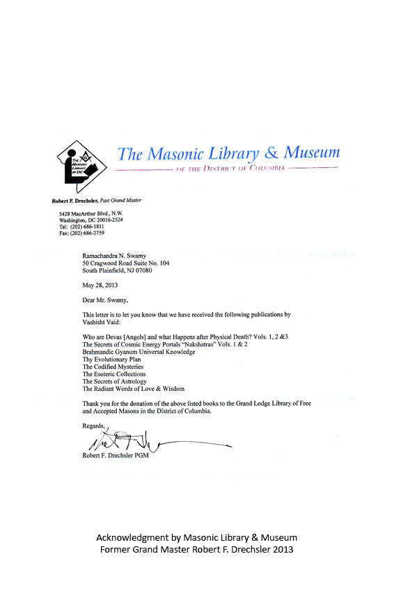 Letter from Former Grand Master Robert F. Drechsler of the Masonic Library and Museum