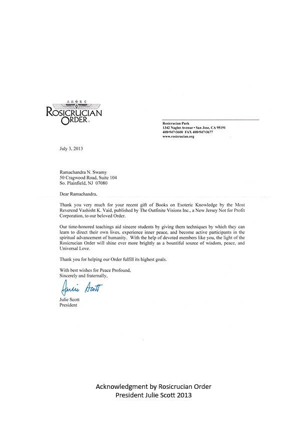 Letter from Rosicrucian Order President Julie Scott