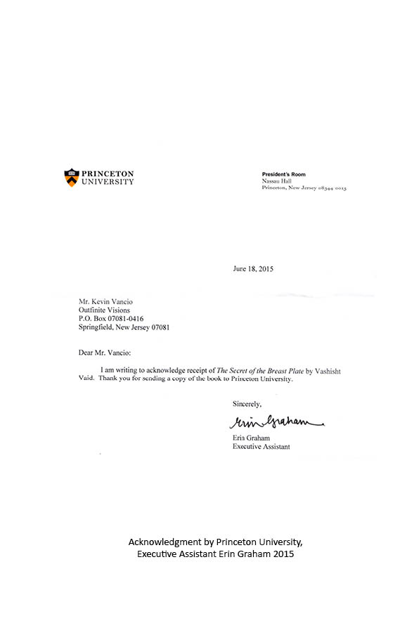 Letter from the President's Office of Princeton University